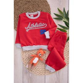 Embroidered Girl's Set - red