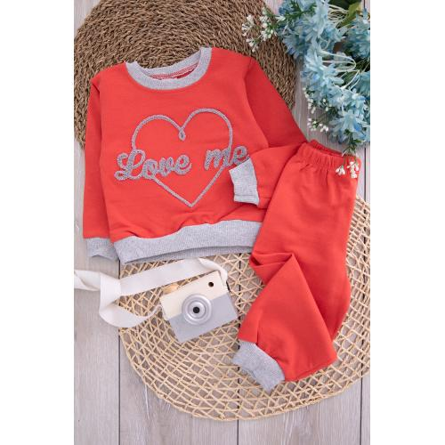 Embroidered Girl's Set - brick color