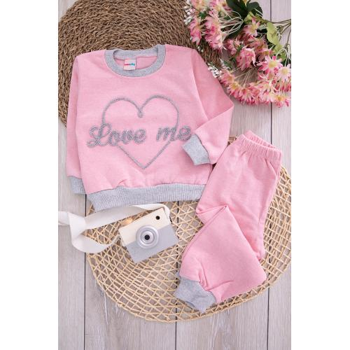 Embroidered Girl's Set - pink