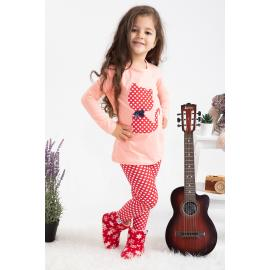 Girl's tight set (Spotted) -salmoon color , red