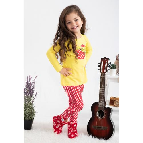 Girl's Tights Set - yellow red