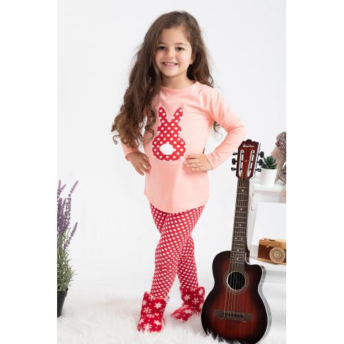 Girl's Tights Set - red .light pink1