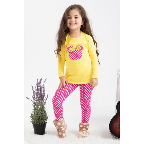 Girl's Tights Set - yellow pink1