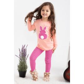 Girl's tight set (Spotted) -pink, salmon color
