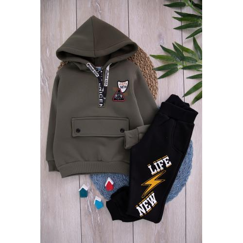 boys thick winter set - khaki color