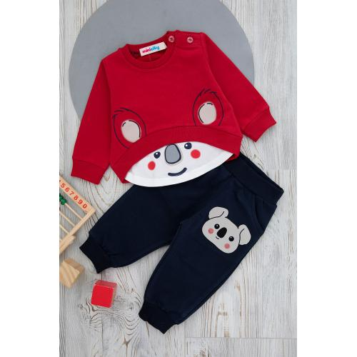 Baby' set (bear print) - red