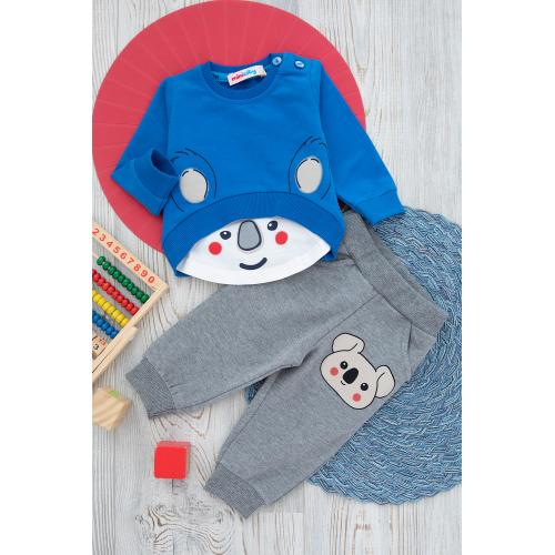 Baby' set (bear print) - blue, selver