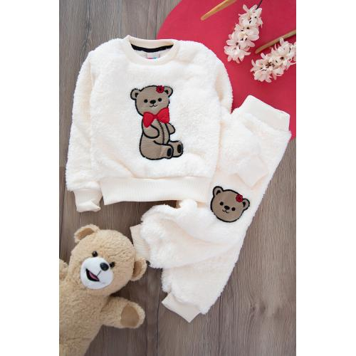 Plush suit , with bear embroidered - white