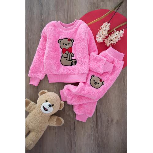 Plush suit , with bear embroidered - pink