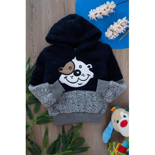 Plush sweat with cape for boys - black