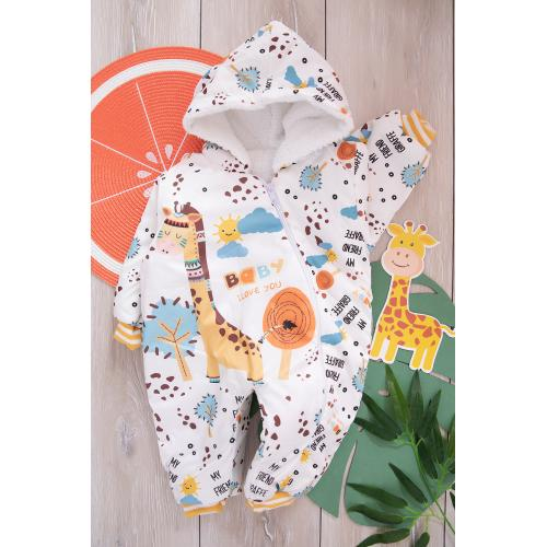 Baby Jumpsuit (Printed giraffe)  -yellow