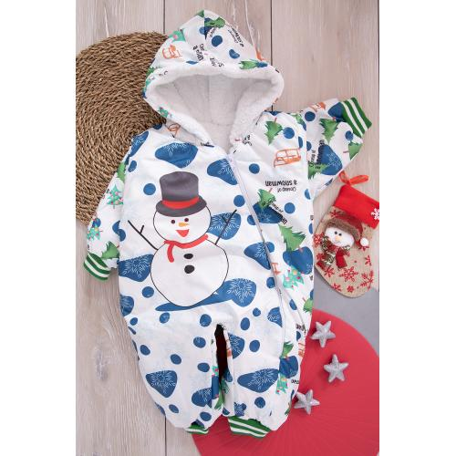 Baby Jumpsuit (Snowman print) - green'