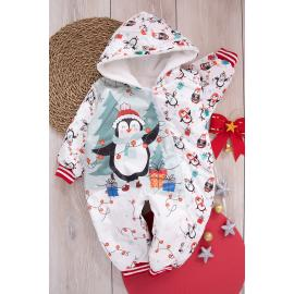 Baby Jumpsuit (Penguin print)  - red3