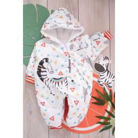 Baby Jumpsuit (Zebra Print) -brick color
