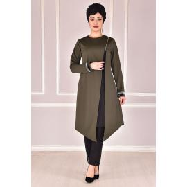 With zip detailing, tunic pants set, khaki color