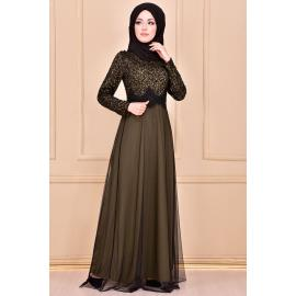 Khaki evening dress decorated with sparkles