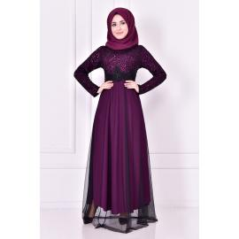 Purple evening dress decorated with sparkles