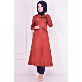 Cinnamon Red coat with zipper