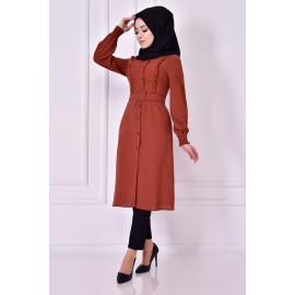 Brick red tunic with belt
