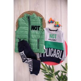 Embroidered Winter Thick Canvas Set for Boys - Green