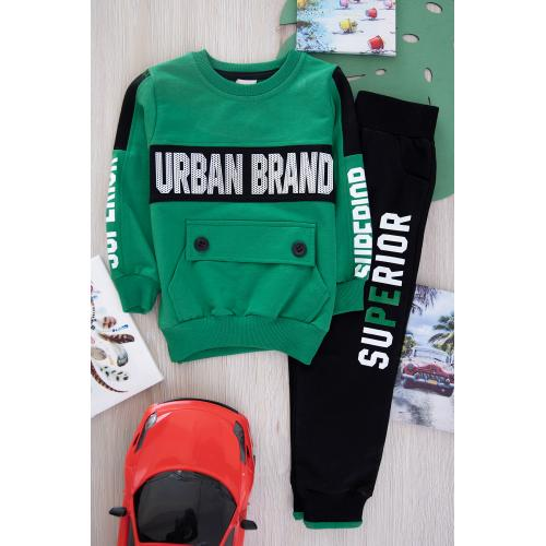 Winter thick printed fabric  set for boys - green