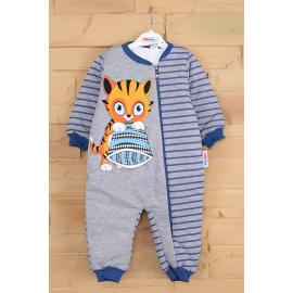 Cat printed sleeping jumpsuit - blue