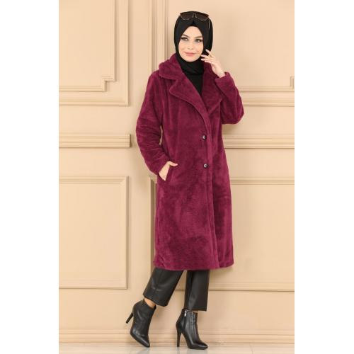 Plush coat  with buttons - red peach color