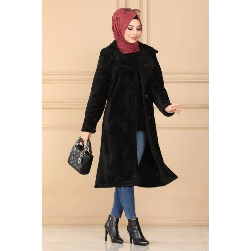 Plush coat  with buttons - black