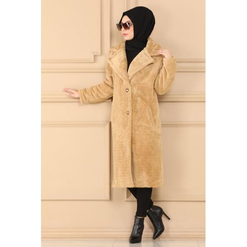 Plush coat  with buttons - mink color