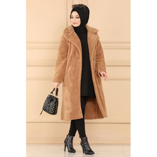Plush coat  with buttons - brick color