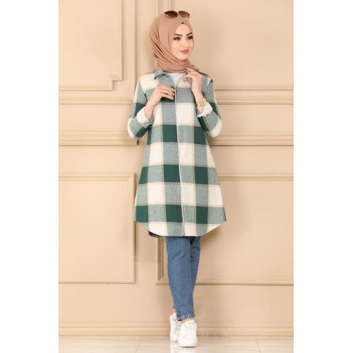 Striped tunic - emerald green and light tan color