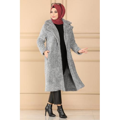 Plush coat  with buttons - gray