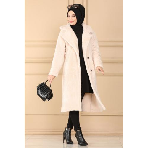 Plush coat  with buttons - light tan color