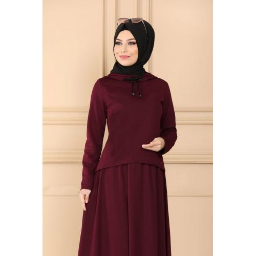 set of Two-piece cape - maroon
