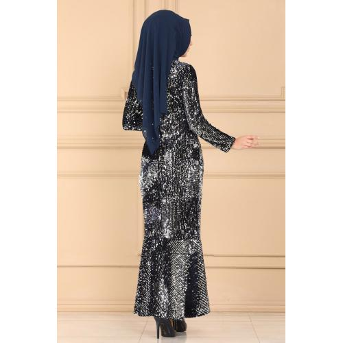 Evening dress decorated with sparkles -selver and navy blue
