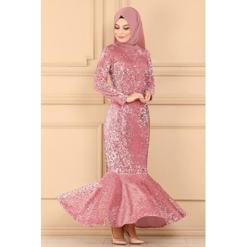 Evening dress decorated with sparkles -light pink