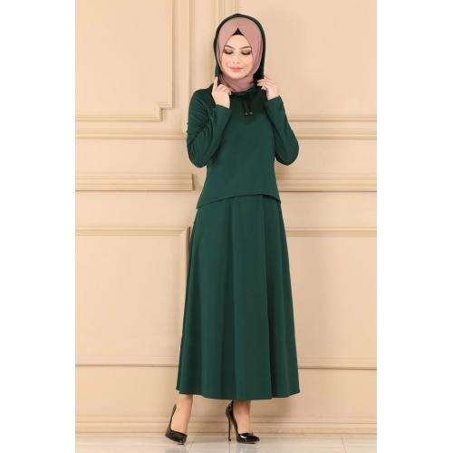 set of Two-piece cape - emerald green color