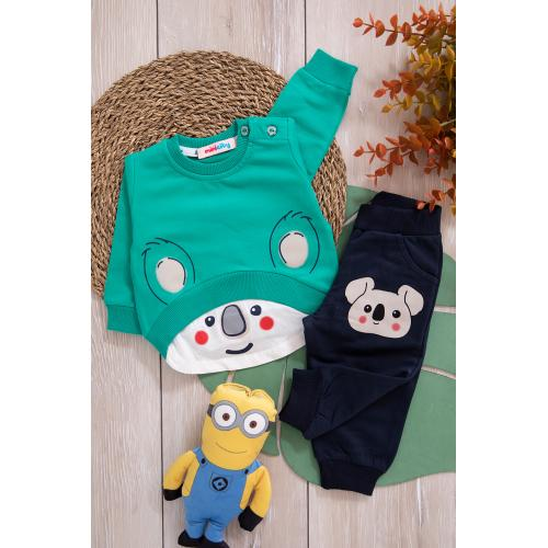 Baby' set (bear print) - green, black
