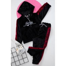 Girls Velvet Set - black