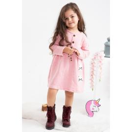 Girl's Dress with Belt (Embroidered) -pink