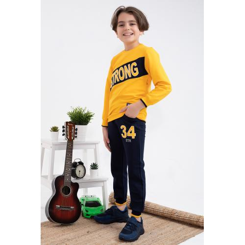 Embroidered winter set for boys - yellow