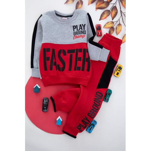 Embroidered Winter Thick Fabric Set For Boys - Red.