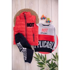 Embroidered Winter Thick Fabric Set For Boys -red
