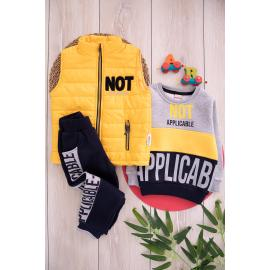 Embroidered set with thick winter fabric for boys - yellow