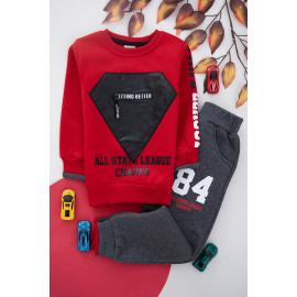 Embroidered Winter Thick Fabric Set For Boys - red