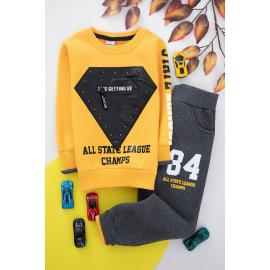 Embroidered Winter Thick Fabric Set For Boys - yellow.
