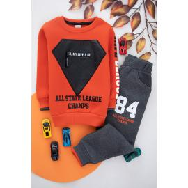 Embroidered Winter Thick Fabric Set For Boys -brick