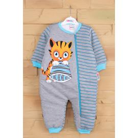 Cat printed sleeping jumpsuit - sky blue
