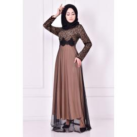 Evening dress, mink color (one of the shades of beige) decorated with sparkles