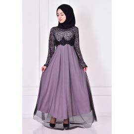 Light purple evening dress decorated with sparkles